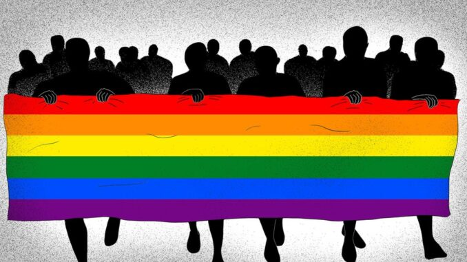 Shadows holding the LGBTQ+ Flag, with other shadows behind.
