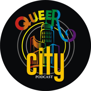 Queer City is written on a black background. It as the colours of the rainbow.